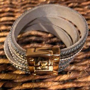 Jewelry - Jewelry- wristlet leather and brass - grey
